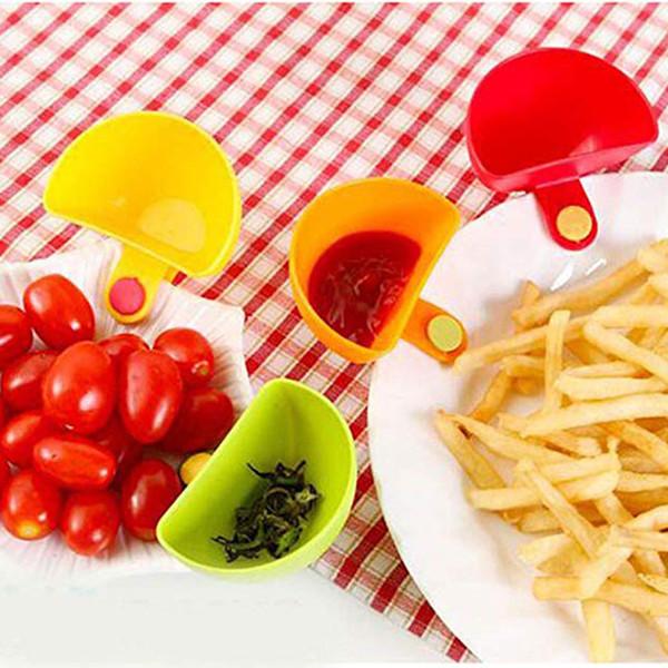 Dip Saucers Verschiedene Salat Sauce Ketchup Jam Dip Clip Cup Bowl für Tomaten Salz Essig Zucker Flavor Splice MMA2492