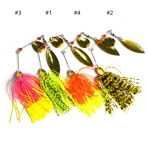 HENGJIA 4pc/lot spinnerbait Fishing Lures Fluff rotating bait blade hard metal lead head pike catfish buzzbaits sequins spoons 14.8g