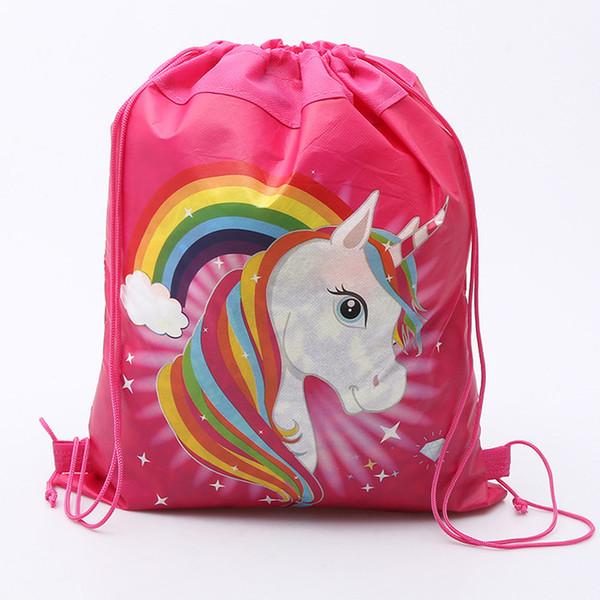 2019 1pc Cartoon School Backpack for Boy,Girl Unicorn Drawstring Bag Student book bag Kids School Bag