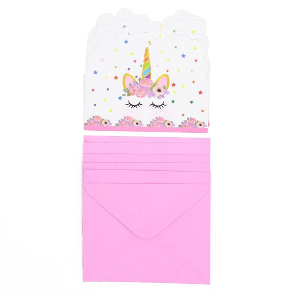 1 Pack Unicorn Theme Birthday Party Invitation Card Girl Shower Baby Decorations Party Supplies Wedding Children S Gift Cards Greeting Cards