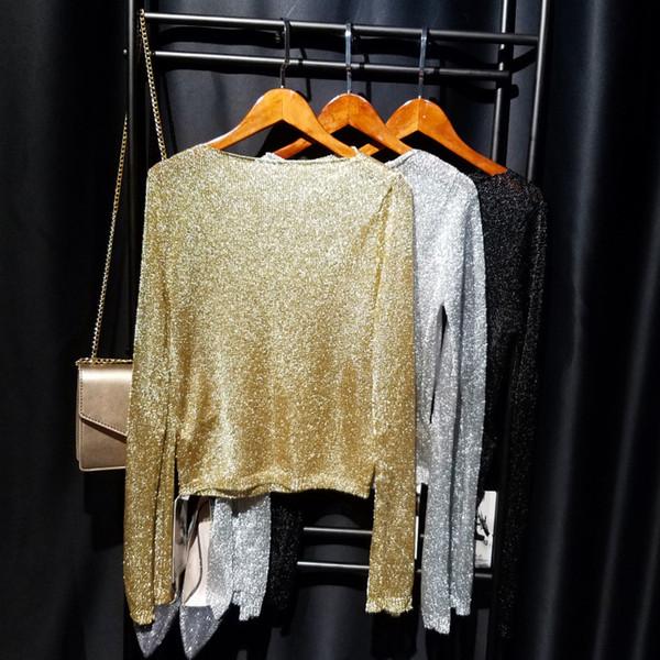 Cakucool New Gold Lurex Knit Tops Women t shirt Long Sleeve Slash Neck Tee Shirts Thin See-through Mesh Sexy Tees Tshirts Femme Y18121902