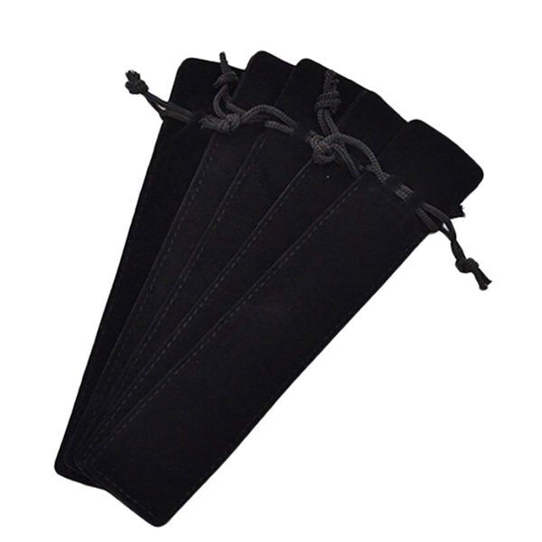 50 Pcs Black Velvet Pen Pouch Sleeve Holder Single Pen Bag Case Pencil Bag
