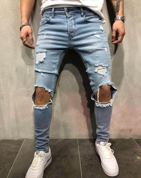 Erkekler Giyim Yeni Tasarımcı Pantolon Düz Biker Skinny Jeans Erkekler Jeans Ripped Erkek İnce Denim Destroyed