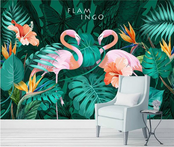 3d Wallpaper Living Room Modern Wallpaper Background Wall Painting Mural Silk Nordic Hand-painted Tropical Flamingo Wallpapers