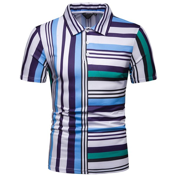 CHAMSGEND Shirt Man Summer Short Sleeve Red Blue Stripe T-shirts Large Size Casual Turn-down Collar Musle T-shirt homme 3.FEB.22