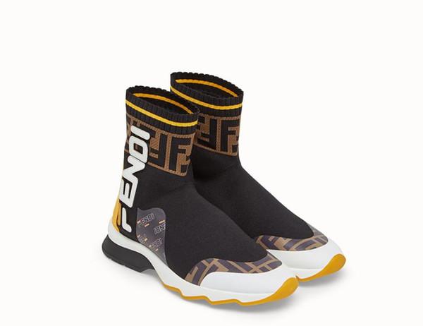 [Con la caja] 2019 diseñadores de marca de lujo de los hombres zapatillas de deporte Mocasines Moda FF Hombres Mujeres High-top de tela elástica Casual Sport Sock Shoes 35-45