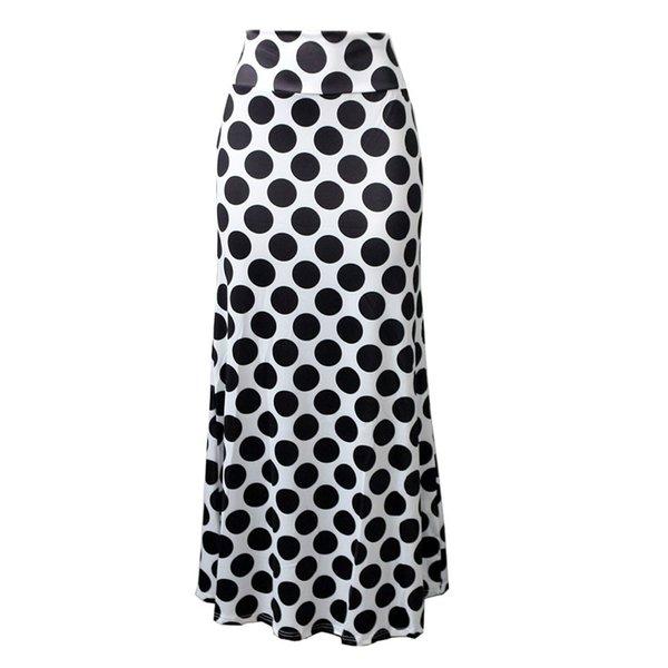 Haoohu Artı Boyutu Yüksek Waisted Polka Dot Etek Ofis Işleri Zarif Etekler Kadın Rahat Yaz Etek Büyük Boy Bayanlar Giyim Y19043002