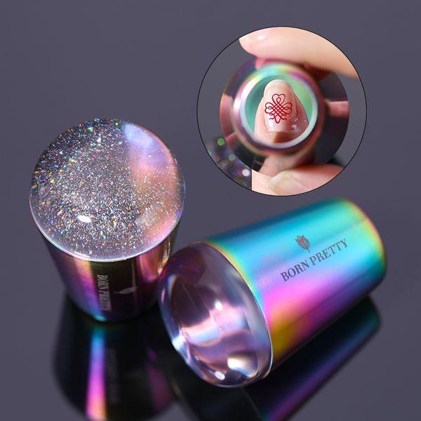 BORN PRETTY gérer Holographic Transparent Nail Stamper pour estamper la plaque Holo Clear Stamper Head Nail Art Modèles