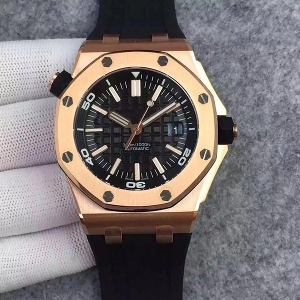 Limited Royal Oak Mens Watch Offshore Diver Automatic Mechanical Movement Rose Gold Black Watch Rubber Belt 42mm Male Clock Wrist Watches
