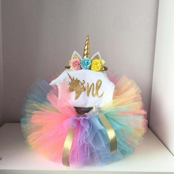 1 anno neonata compleanno Dress bambini bambino copre l'arco dell'oro 6 Mesi 1 ° 2 ° Compleanno Battesimo vestiti per il partito Ragazze