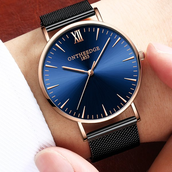 wholesale Stainless Steel Milanese Band Watch Men Rose Gold Applied index Japan Quartz Movement Accurate Time Male