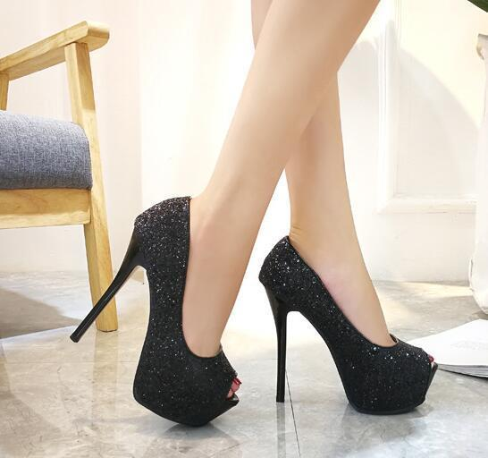 Black heel 14 cm high