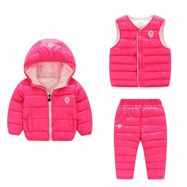 quality baby Girls down parkas clothing sets winter hooded Jackets Boys Outerwear Boys clothes sets 3 pcs coat+vest+pants