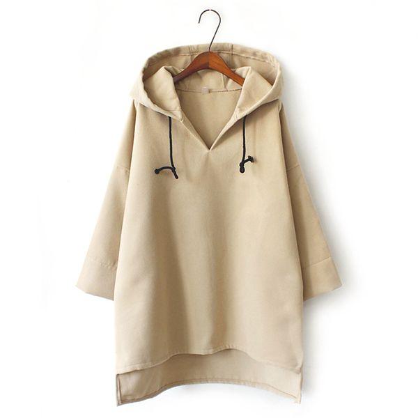 Women Autumn Hoodieshirts Girls Casual Loose Long Sleeve Hooded Pullovers Medium Length Keep Warm Sweatshirt Tops