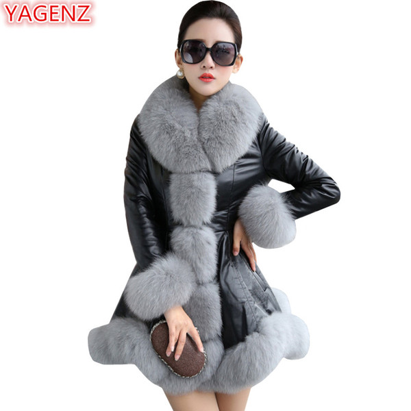 YAGENZ Fashion Women Leather Jacket High quality Imitation Fox Fur collar Plus size 9XL Winter Coat Women Leather Long Coat 751