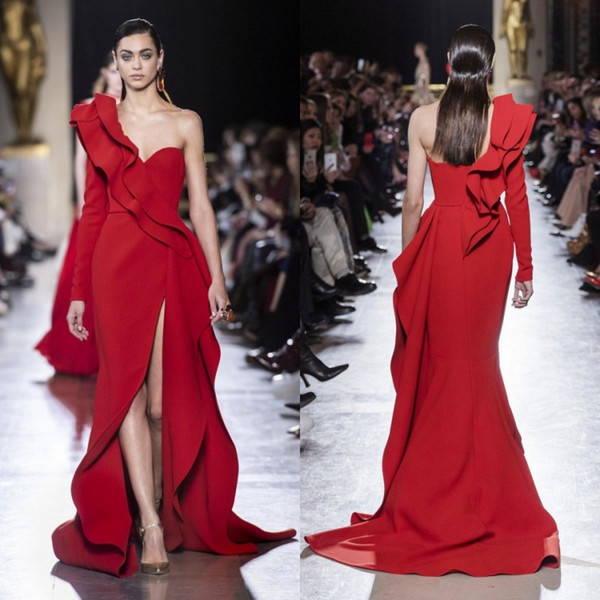 Elie Saab Red Evening Dresses 2019 Sexy One-Shoulder High Side Split Long Sleeve Prom Wear Formal Party Gowns Special Occasion Dress
