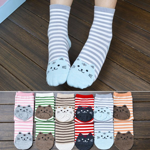 Diz Yüksek Çorap Kadınlar Uzun Pamuk 3D Hayvanlar Çizgili Karikatür Kedi Ayak Izleri Pamuk Çorap Kat W709