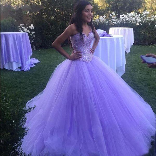 Cristais De luxo Quinceanera Vestidos De Baile Tule Prom Debutante Dezesseis Doce 16 Vestido vestidos de 15 anos