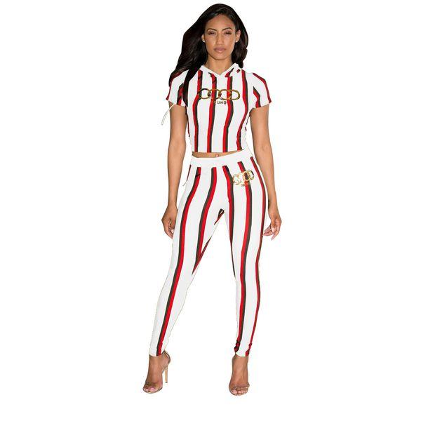 3XL Femmes 2019 Nouvelle Mode Élégant À Manches Courtes Maigre Femme Costume D'or Lettre D'impression Rayé Vertical Crop À Capuche Ensembles De Pantalon