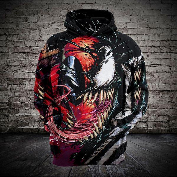 Mens womens beauty code venom spiderman 3D hooded sweater Foreign trade hoodie sweatshirt sweat coat pullover jackets