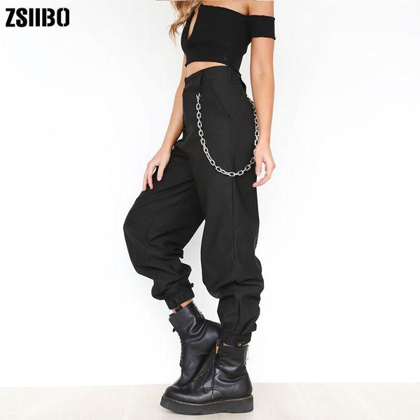 Women's Chains High Waist Harem Pants Black Hip Hop Loose Streetwear Pockets Solid Trousers Female 2019 Spring Ladies Bottoms