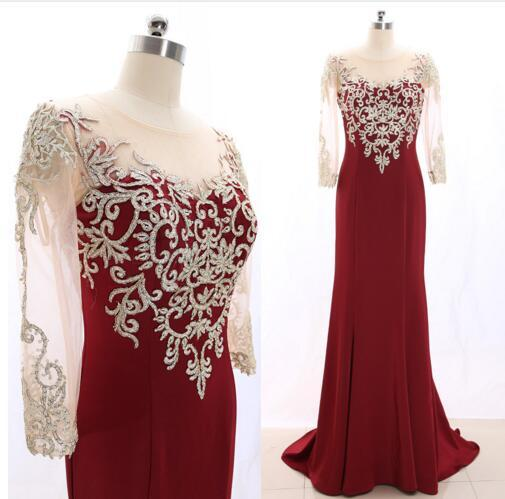 Amazing Gold Embroidery Burgundy Mother of the Bride Groom Dresses Illusion Sleeves Scoop Sheer Neck Long Sheath Beads Evening Formal Dress
