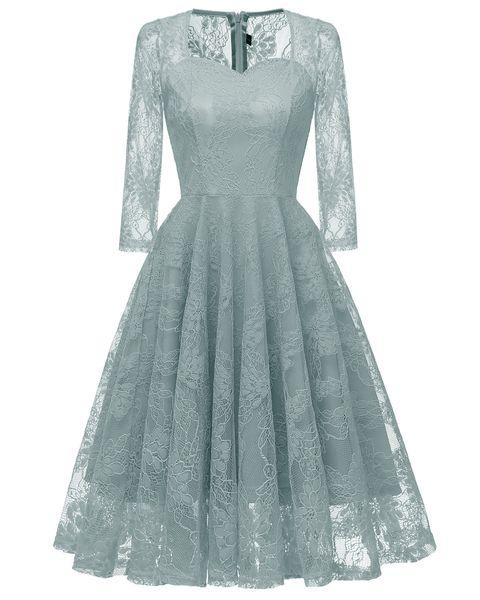 Green Lace Women Dresses Three Quarter Sleeves Sweetheart Neck Midi Prom Party Dresses Knee Length Short Dress