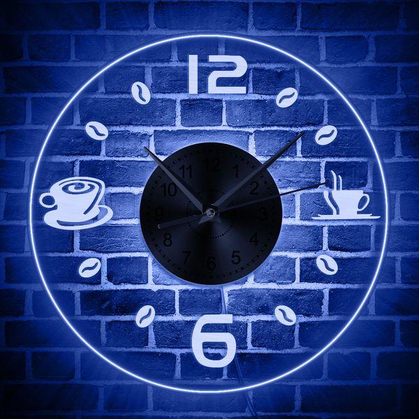 Café Do Vintage Design Iluminado Relógio de Parede De Grãos De Café LEVOU Negócio de Iluminação Sinal de Néon Café Cozinha Wall Art Bar Decor