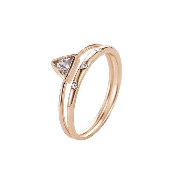Punk style Gold Plated Crystal Geometric Triangle Mid Finger Ring 2pcs/Set Christmas Gift