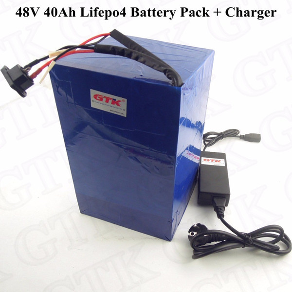 48v 20ah Rechargeable LiFePO4 Battery Pack for 1000W Ebike Scooter 5A Charger