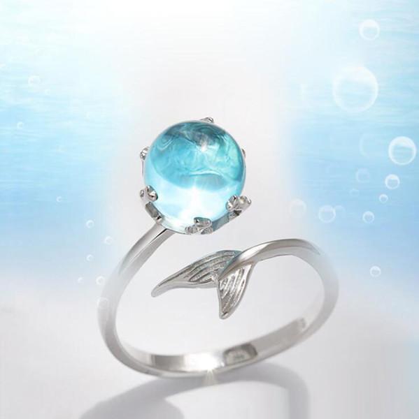 Новая Мода Синий Кристалл Русалка Хвост Пены Открытие Кольца Регулируемый Серебряный Сплав Женщины Девушки