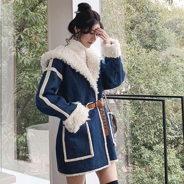 Abrigo con capucha de mezclilla de invierno para mujer Ropa para mujer Cinturón chaqueta