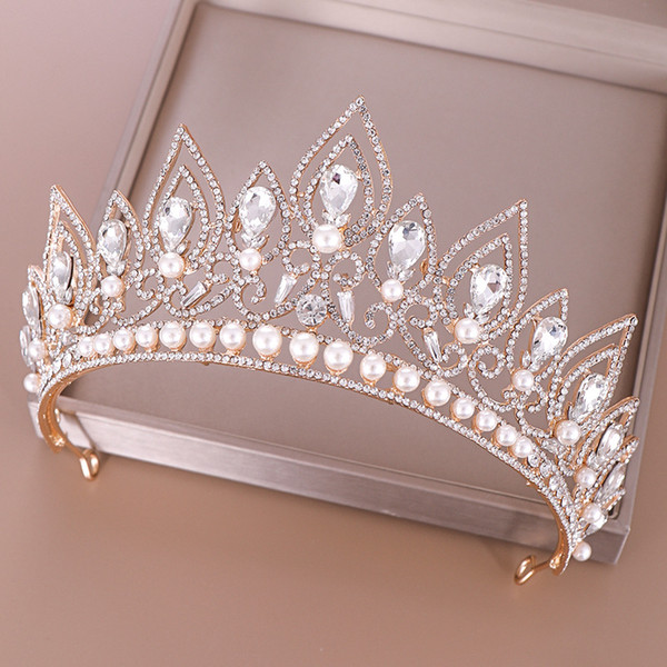 Форма капли воды Женщины диадемы и короны Кристалл жемчуг невесты головной убор украшения для волос свадебные аксессуары для волос