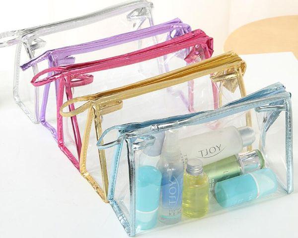 Nueva moda mujer bolsa de cosméticos PVC transparente transparente impermeable cremallera almacenamiento viaje maquillaje bolsas lavado funda