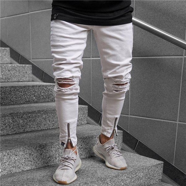 Mens White Ripped Jeans Fashion Summer Zipper Casual Pencil Pants Skinny Mid Waist Jeans Mens Apparel