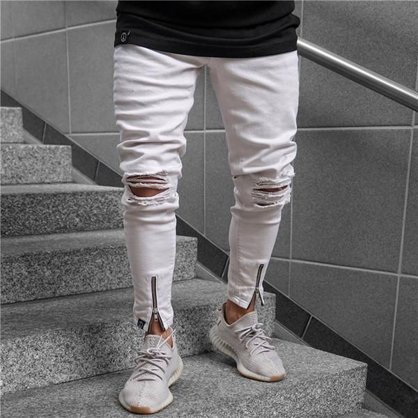 Erkek Beyaz Jeans Moda Yaz Fermuar Casual Kalem Pantolon Skinny Orta Bel Jeans Erkek Giyim Ripped