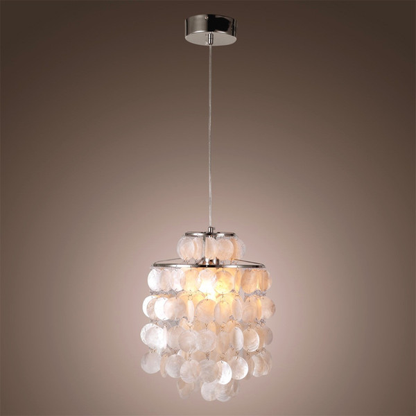 White Mother of Pearl One Light Mini Ceiling Pendant Lamp Chrome Backplate