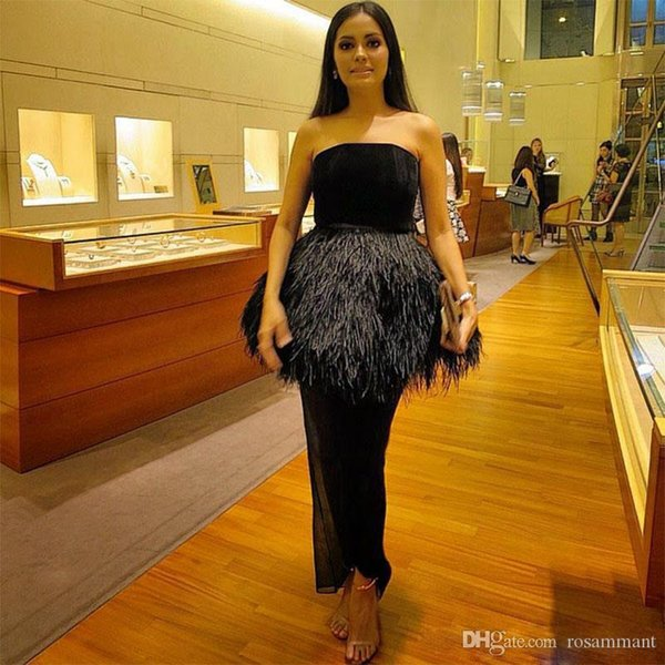 Modern Black Feather Ankle Length Prom Dresses Strapless Peplum Abric Dubai Prom Gown Straight Short Evening Gowns