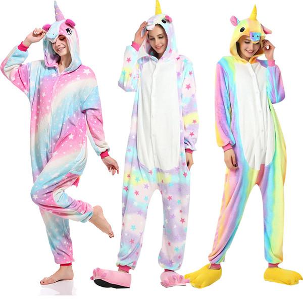 Kigurumi Pijamas Unicornio Stitch Onesies para Adultos Animal Franela Ropa de Dormir Mujeres Hombres Traje de Navidad Tiburón Panda ropa de dormir