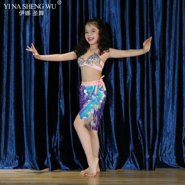 Los nuevos niños de los trajes de la danza de vientre de la venta caliente niños espectáculo de danza ropa sujetador + lentejuelas bufanda de la cadera de la falda de las muchachas de baile de rendimiento establecidos