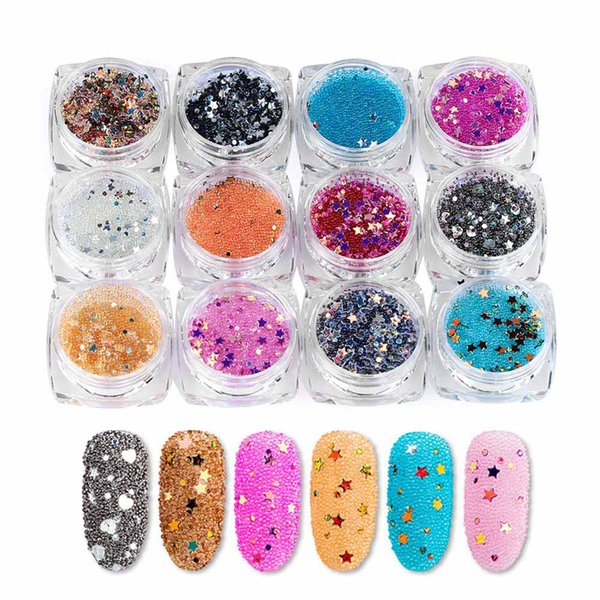12Pcs/Set 3D Mini Beads Star Nail Art Crystal Rhinestone Caviar Ball Stickers Glitters Charms Decoration Manicure Accessories