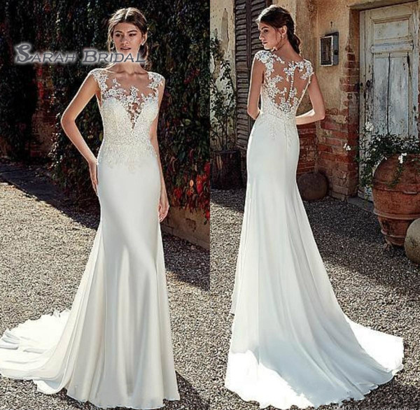 best selling 2019 Vintage Mermaid Deep V-Neck Wedding Dress Sexy Sleeveless Backless Lace Evening Wear Formal Gown High-end Wedding Boutique