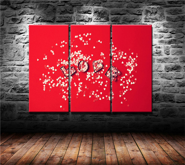 Red Love Hearts On Wood Canvas Wall Art Picture Print