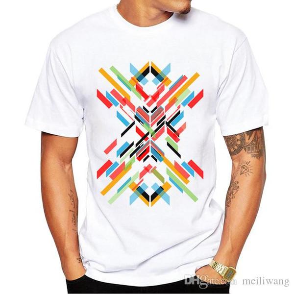 Retro Wood/ Record Printed Men T shirt Short Sleeve Casual t-shirt Hipster Fractal Pattern tees Cool Tops