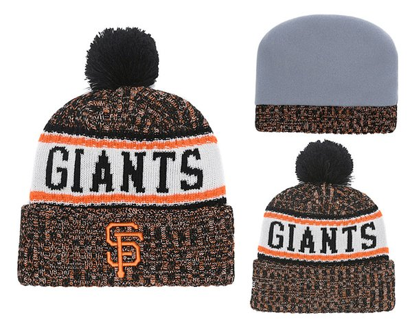 2018 New Sport SF Baseball Skullies Hat Pom Giants Cuffed Knitted Hats With Embroidered Team Logo Fans Fashion Winter Warm Women Beanies