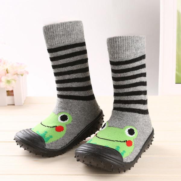 Toddler Floor Indoor Scarpe bambino di slittamento dei calzini Learning To Walk cotone calzini del bambino con la gomma delle suole Infant Socks Size
