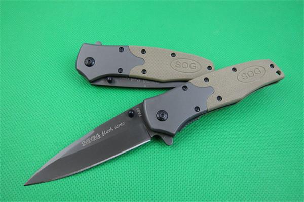 Più recente SOG FA02 Coltello da caccia pieghevole G10 Sand Color Manico in acciaio Lama EDC Pocket Tools Coltelli tattici di sopravvivenza Natale Gift P171R Q