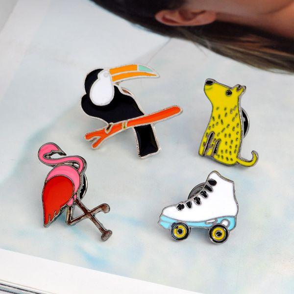 Animal Mouse Flamingo Parrot Broche Alfileres de solapa Insignia Joyería de moda para Mujeres Hombres Niños Regalo de Navidad