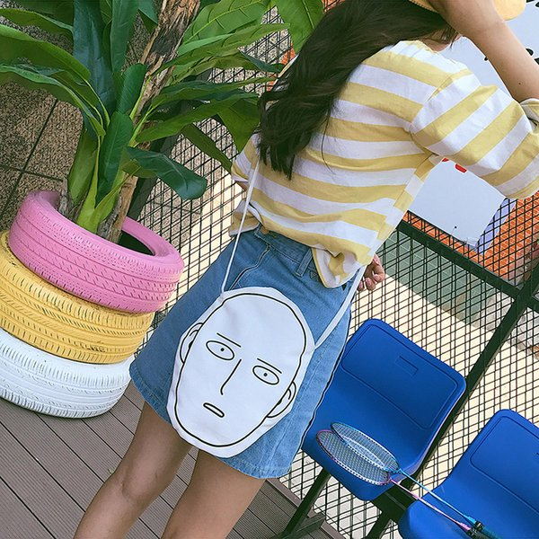 Sarine Creativity Canvas Bag Expressionless Cartoon Canvas Shoulder Women Messenger Bags Funny Face Shape Handbag Crossbody Bag