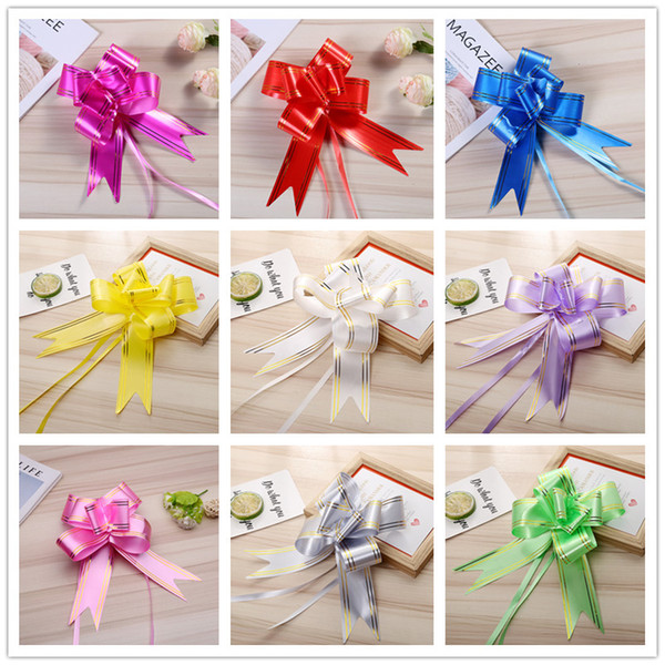 10pcs/lot 4.5cmx73cm Pull Bows Gift Ribbons Christmas Gift Wrap Wedding Car Decoration Birthday Party Decor Valentines Supplies